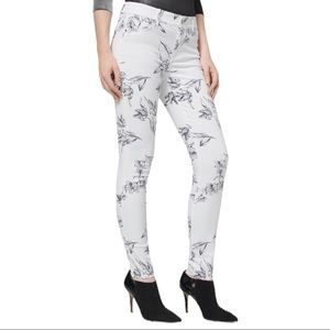 Mid-rise Floral Skinny Ankle Jeans Size 2P